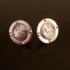 Michael kors silver logo earrings.